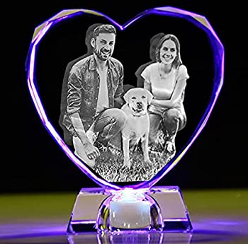 2D/3D crystal photo Personalized Custom 3D picture in glass Engraved crystal heart keepsake with Your Own Picture  Birthday Wedding Gift Mothers Day Gift Fathers day gift Valentine s,Christmas   Faced edge L