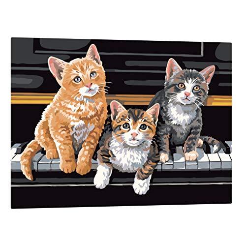 Hellery 16X20 Malen Nach Zahlen Kit DIY Klavier Katze Digitales Ölgemälde Auf Leinwand Geschenk