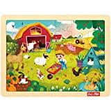 LOL-FUN 24 Piece Puzzle for Toddlers 3 Year Old - Busy Farm Wooden Jigsaw Puzzles for Kids Ages 3-5