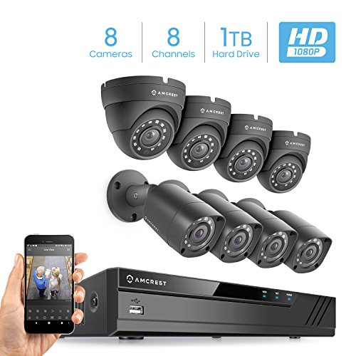 Amcrest Full-HD 1080P 8CH Video Security System w/Eight 2.0MP (1920TVL) Outdoor IP67 Bullet & Dome Cameras, 66ft Ight Vision, HDD Not Included, Eco (AMDV10818-4B4D-B)
