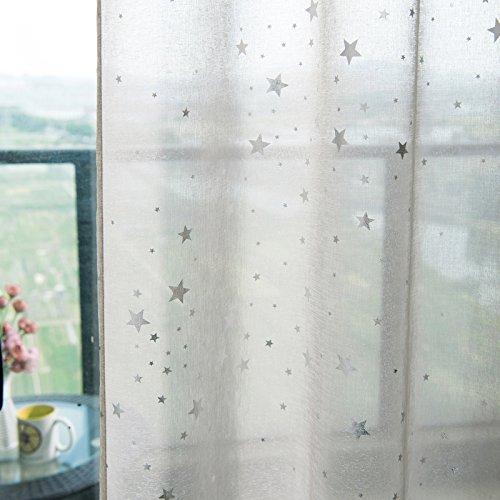 WOLTU VH5826sd, Vorhang Gardinen mit Ösen transparent Leinenoptik mit Sterne Muster, Stores Dekoschal Fensterschal lichtdurchlässig Voile für Wohnzimmer Kinderzimmer Schlafzimmer, 140x245 cm Sand