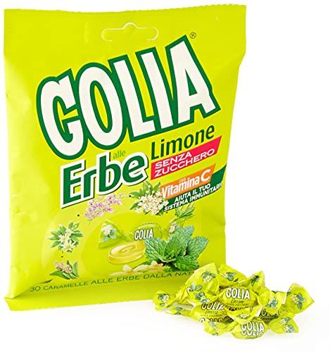 Golia Erbe Caramelle alle Erbe Limone, senza Zucchero e senza Glutine, 60g
