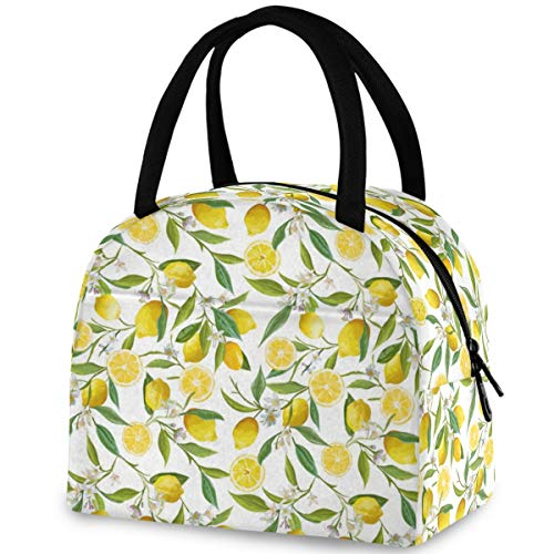 ZzWwR Beautiful Lemon Leaves Floral Pattern Reusable Lunch Tote Bag with Front Pocket Zipper Closure Insulated Thermal Cooler Container Bag for Man Women Work Picnic Travel Beach Fishing