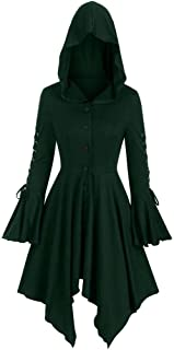 Womens Hooded Plus Size Vintage Cloak High Low Sweater Blouse Tops Dress