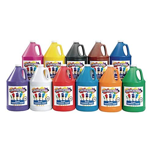 Colorations Simply Tempera Paint, 11Color Variety Set (1 Gallon Each) –Vibrant Colors, Rich Coverage -Dries to a Matte Finish –Easily Washes Off Skin -High Quality, Economical Classroom Paint