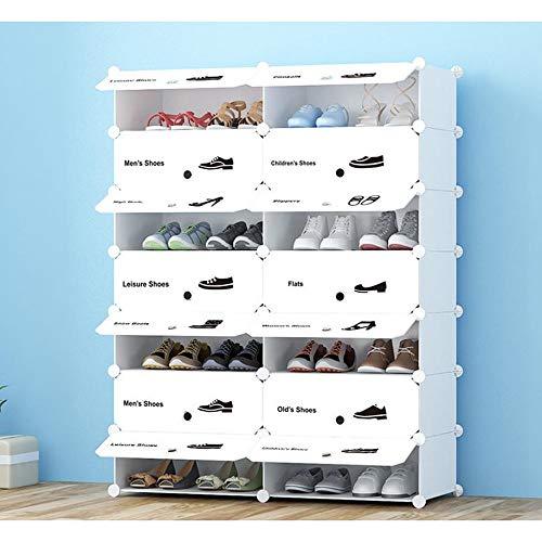 M-YN Zapatero Almacenamiento de Zapatos Ajustable Organizador de Racks de Zapatos Estante con Pegatinas Sostenga el Soporte for 16 Pares, Ahorro de Espacio, Fácil de Montar Blanco (Size : 7-Tier)