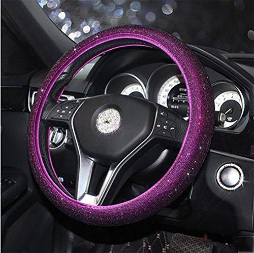 RUIRUI Caches de Volant, 38CM / 15 '' Universal PU Cuir Bling Bling Rhinestones Housse de Volant Four Seasons Couvre Volant, Purple