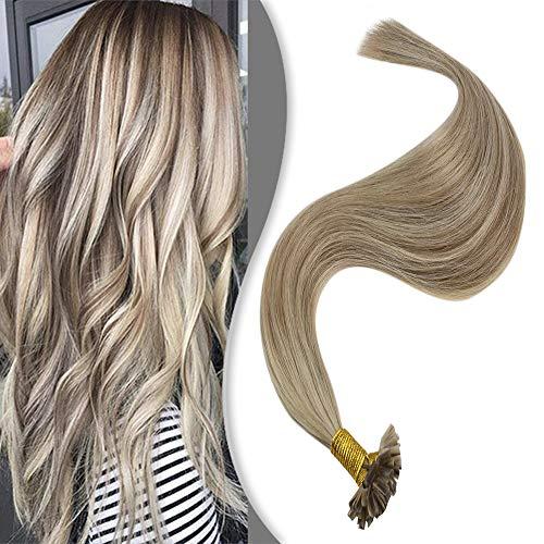 YoungSee Blond Extensions Echthaar Bondings 1g - Remy U-Tip Keratin Haarverlangerung Echthaar Hellbraun mit Goldblond - Blond Strähnchen Hot Fusion Bondings Extensions Echthaar 50 Stuck 40cm