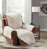 Brilliant Sunshine Pink and Green Rose Patchwork, Reversible Large Recliner Protector for Seat Width up to 28', Furniture Slipcover, 2' Strap, Reclining Chair Cover, Recliner, Pink Green