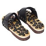 WINNNGOO Antideslizante,Zapatos de Masaje de pies con acupuntura para Hombres y Mujeres Zapatillas de Masaje con imán de guijarros-Negro_35-36