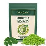VAHDAM, Moringa Matcha Grüner Tee (50 Tassen) | 100% REINER japanischer Herkunft Matcha-Teepulver | 137x ANTI-OXIDANTEN | Grüner Tee für Gewichtsabnahme & Detox für den Alltag | SUPER FOOD | 100g