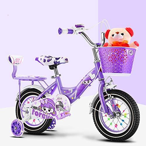ZTIANR 12/14/16/18/20 Pulgadas Niña-Bici Niños para Bicicleta Toybike, Frontbasket, Formación-Ruedas Apto para Niños 2-15 Años De Edad,Púrpura,16 Inch