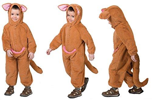 Karneval-Klamotten Känguru Kostüm Kinder Kleinkinder Australien aus Plüsch mit Kopf und Beutel Tier Kinderkostüm