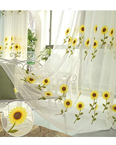 TIYANA Sheer Sunflower Curtain Panel for Living Room Rod Pocket Floral Embroidery Gauze Tulle Drapery Sweet Window Treatment for Kids Room (1 Piece, Sun Flower, 40x63 inch)