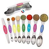 GeeRic 8 Stück Magnetische Messlöffel Set Edelstahl für flüssige und trockene Zutaten, Kochen und Backen