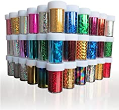 XICHEN Starry Sky Stars Nail Art Stickers Tips Wraps Foil Transfer Adhesive Glitters Acrylic DIY Decoration (24PCS 24 Colors)(4cm*100cm)