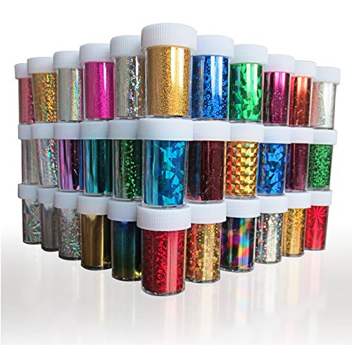 XICHEN Starry Sky Stars Nail Art Stickers Tips Wraps Foil Transfer Adhesive Glitters Acrylic DIY Decoration (24PCS 24 Colors)(4cm100cm)