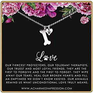 Gift for Dog Lovers • Sterling Silver Dog Bone and Paw Print Charm Necklace • Dog Jewelry for Women Girls Kids • Memorial Keepsake Necklace • Pet Loss Sympathy Gift • Rescue Shelter Worker Volunteer