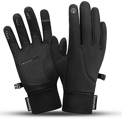 Zenoplige Touchscreen Handschuhe,Fahrradhandschuhe Laufhandschuhe Herren Sporthandschuhe Winddicht Wasserdichter (Schwarz, M)