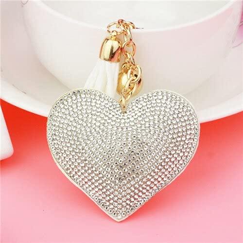 TOSISZ Full Crystal Love Heart Key Ring Sweet Women Handbag Pendant Charms Long Tassel Golden Chain Key Holder 6 Colors-10