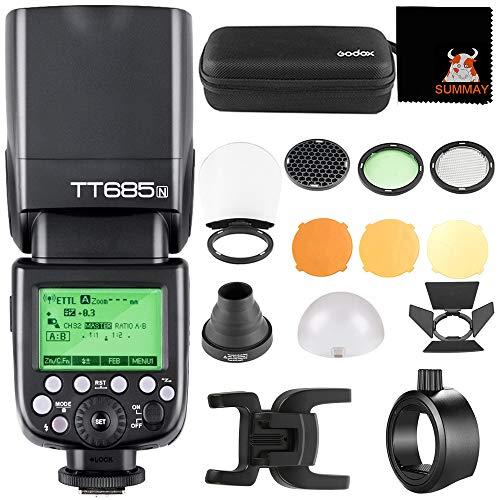 Godox TT685N TTL 2.4G HSS Speedlit+AK-R1 Ronda Accesorios Principales+S-R1 Adaptador para Nikon D3400 D3200 D7500 D7200 D5600 D5300 D850 D750 Cámaras (TT685N+S-R1+AK-R1)