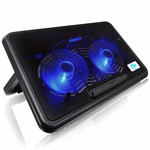 AABCOOLING NC82 - Laptop Cooling Pad mit 2 Lüftern, Einstellbare Neigung und Blau LED, Laptop Kühler, Laptop Stand, Laptopständer für Laptops bis 17 Zoll und PS4 / XBOX Consolen, Laptoptisch