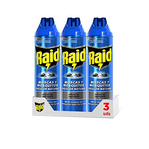 Raid ® Spray Insecticida - Aerosol para moscas y mosquitos, Frescor Natural. Eficacia inmediata. Pack de 3 Unidades, 600ml