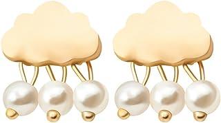 F&U Jewelry Cute Special Raining Cloud Shape Weather Sterling Silver Stud Earrings (Silver/Gold)