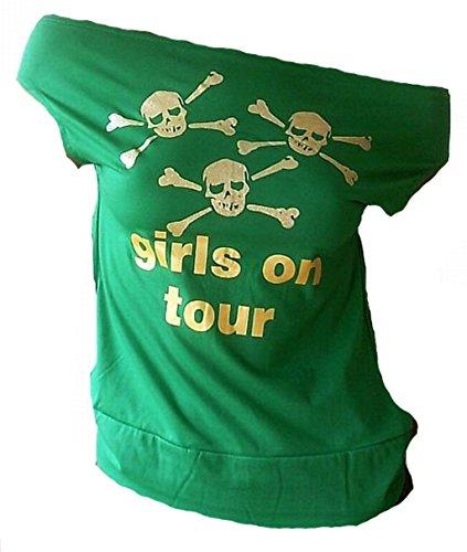 TICILA Damen Designer U-Boot Top Shirt Rockabilly Party Sweet Skull Girls On Tour Silber Glitzer Totenkopf Grün Green S 34/36