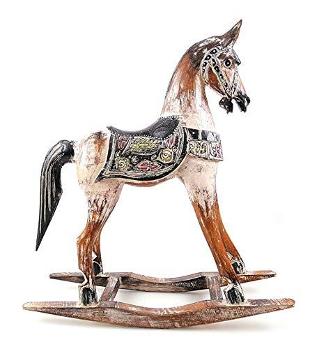 Artigianale Cavallo a dondolo in legno, 45 cm, decorazione vintage.