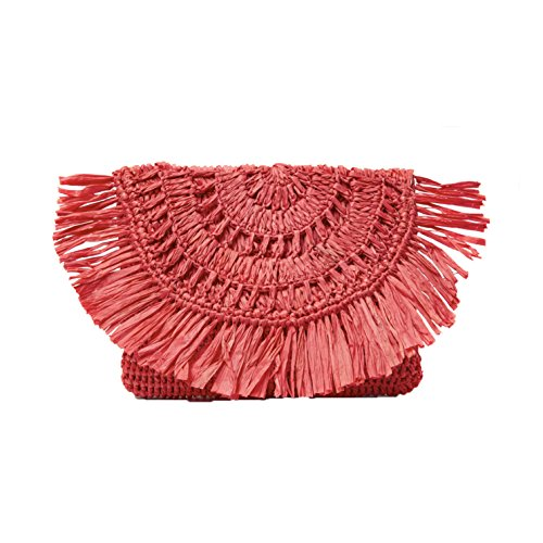 Mar Y Sol Mia Crochet Raffia Fringe Clutch, Coral