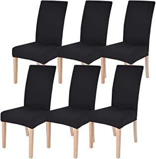 Best Dining Room Chair Covers Slipcovers Set of 6, SearchI Spandex Fabric Fit Stretch Removable Washable Short Parsons Kitchen Chair Covers Protector for Dining Room, Hotel, Ceremony (Black, 6 per Set) Review