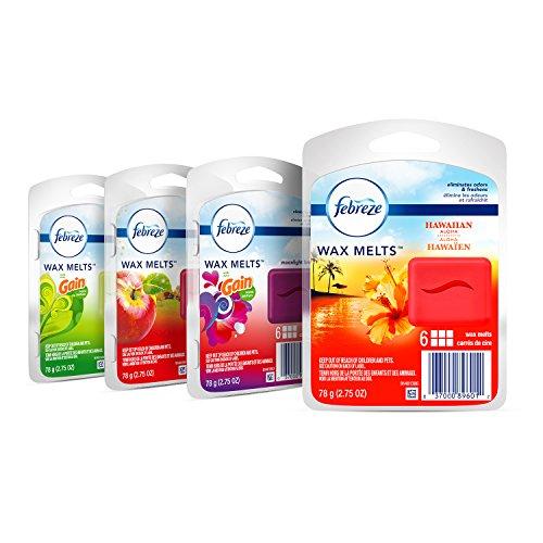 Febreze Wax Melts Air Freshener Variety Pack, Fresh-Pressed Apple, Hawaiian Aloha, Moonlight Breeze and Gain Original Scents (4 packs, 6 count each)