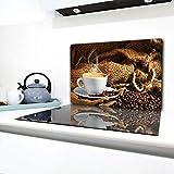 TMK - Piastra di copertura per piano cottura a induzione, 80 x 52 cm, 1 pezzo, universale per piastre di cottura protezione antischizzo, tagliere in vetro temprato, decorazione Caffe