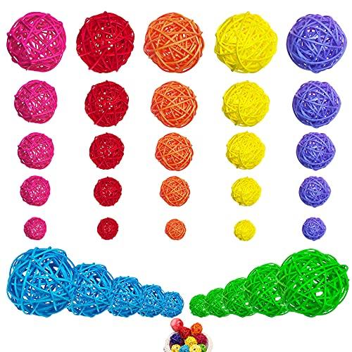 GZjiyu - 35 bolas decorativas de ratán, color de bolas de ratán para manualidades, decoración de mesa de boda, cumpleaños, fiesta, decoración colgante, Navidad, jardín, decoración (7 colores)