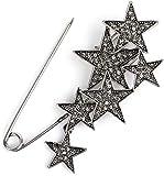 styleBREAKER imperdible de decoración de Mujer con Estrellas de estrás, para Ponchos, pañuelos o chales, alfiler de Seguridad 05050072, Color:Plata/Negro