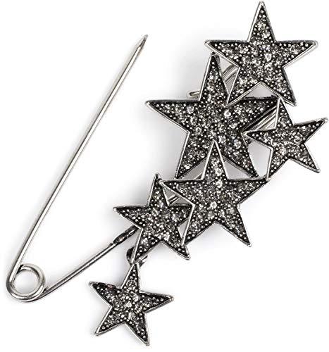 styleBREAKER Broche décorative pour Femme avec étoiles Brillantes pour Poncho, Foulard ou châle, épingle à nourrice 05050072, Couleur:Argent/Noir
