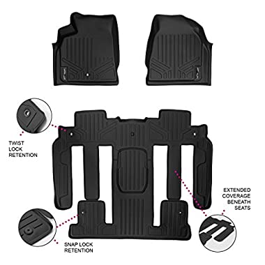 SMARTLINER Floor Mats 3 Row Liner Set Black for Traverse/Enclave/Acadia/Outlook With 2nd Row Bucket Seats