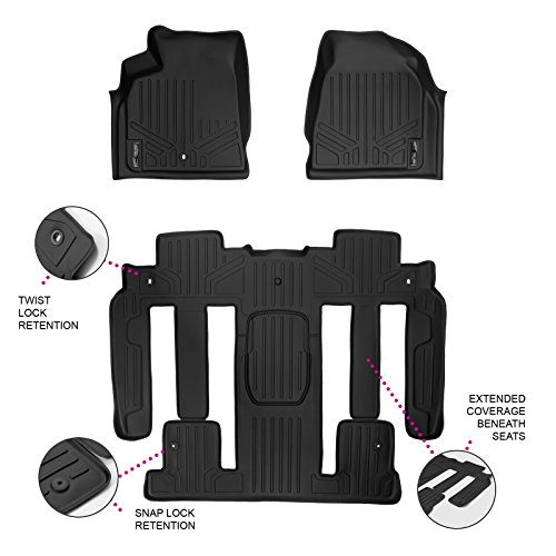 MAXLINER Floor Mats 3 Row Liner Set Black for Traverse/Enclave/Acadia/Outlook with 2nd Row Bucket Seats
