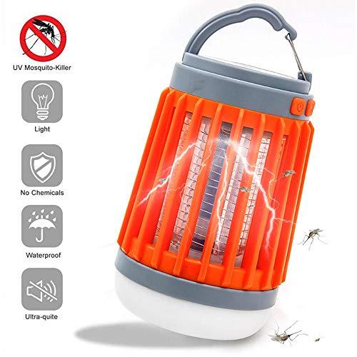 Lampe Anti-Moustique,éLectrique Tueur De Moustique avec LumièRe UV,Lutte Contre Les Insectes,ÉTanche,Chargement USB pour La Cuisine Domestique Jardin Utilisation IntéRieure/ExtéRieure-Orange