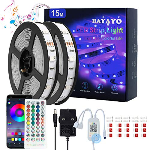 LED Strip Lights with Remote 15m, HAYAYO RGB LED Lights for Bedroom Home Kitchen Party Decoration, Bluetooth APP Controlled Strip Lights Colour Changing Music Sync