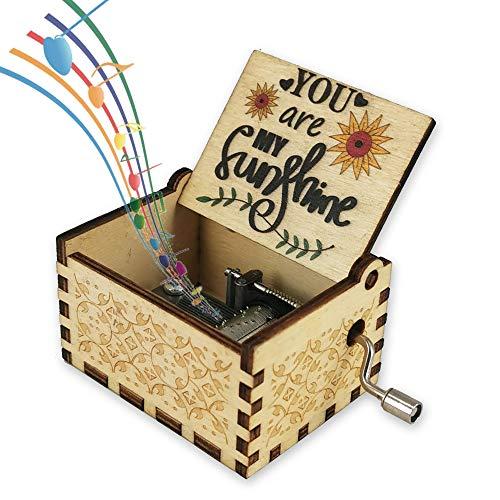 You are My Sunshine Holz Spieluhr für Frau/Tochter/Sohn - Vintage Holz Handkurbel Geschenke