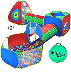 LOADS OF FUN: This bright and vibrant ball pit playhouse obstacle course playset will keep your children entertained for hours! Super cool TARGET WALL (3 dart balls included) takes the FUN to a whole new level, and is enjoyable for the kids and paren...