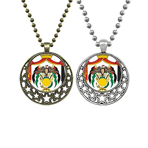 Jordan National Emblem Country Lovers Necklaces Pendant Retro Moon Stars Jewelry