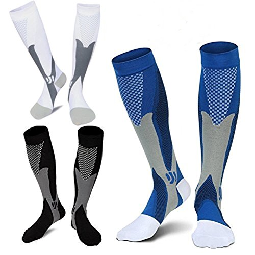 3 Pairs Medical&Althetic Compression Socks for Men, 20-30 mmHg Nursing Performance Socks for Edema, Diabetic, Varicose Veins,Shin Splints,Running Marathon(Men8-14in Women8-15in) (Blue+Black+White)
