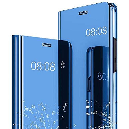 Smfu Funda Compatible Samsung Galaxy S6 Edge Plus Flip Funda Carcasa Ultra Delgado Translúcido Espejo Caja Plegado Case BandaVidrio Templado 2Unidades Anti-Choque S6 Edge Plus-Azul
