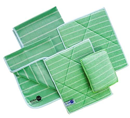 Paños de bambú Premium 4 microfibra + 1 esponja | Limpiador y abrillantador | Cristal, gafas, vajilla, cocina, coche, muebles, pantalla, acero inoxidable | Reutilizable y lavable a máquina (Premium)