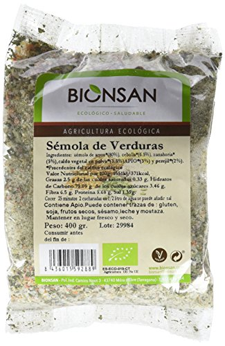 Bionsan Sémola de Verduras Ecológica - 6 Bolsas de 400 Gramos, Total 2400 Gramos