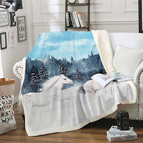 Horse Sherpa Blanket Desert White Palomino Horse Decor Fleece Throw Blanket for Kids Boys Girls Wild Animal Plush Blanket Winter Wildlife Style Fuzzy Blanket for Sofa Bed,Baby 30x40 Inch