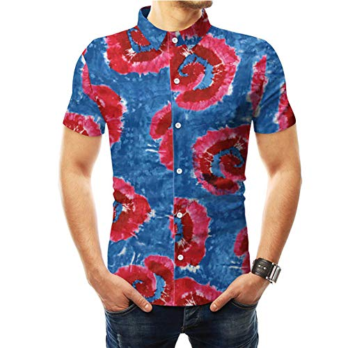 Metermall Fashion For Men Summer Beach Shirt Lapel Short Sleeve Tie-dye Printing Slim Fit Male Casual Shirt